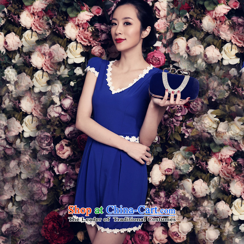 Miss ord2015 summer new clothes youth stylish blue women small fresh Sau San dresses blue?S