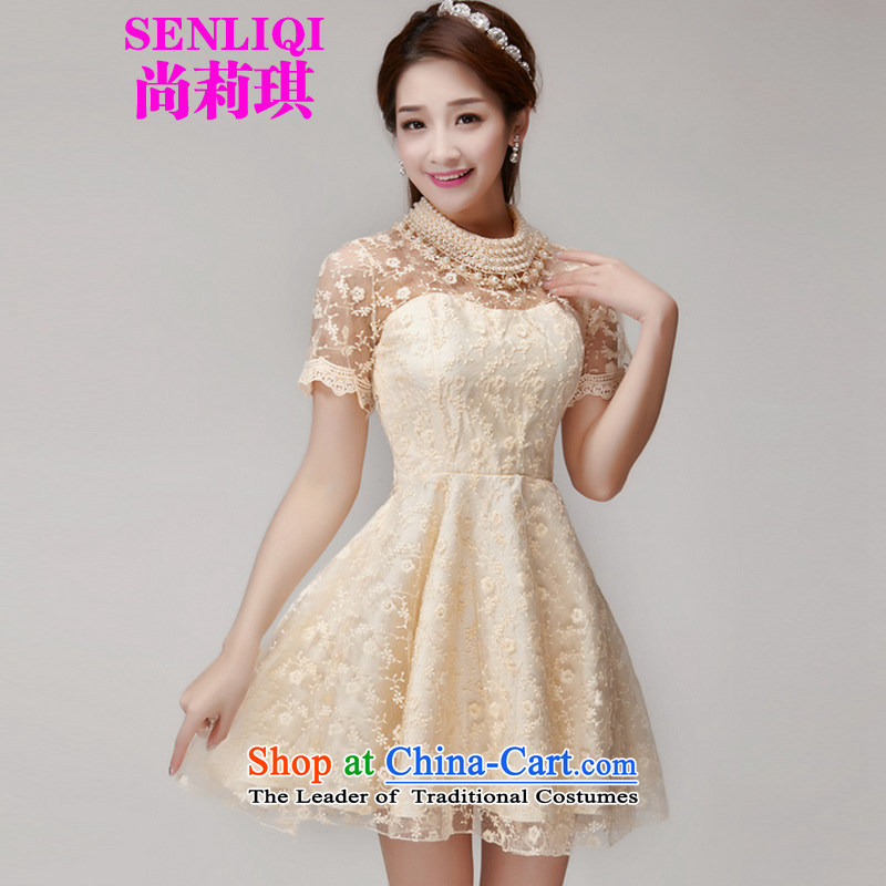 Yet Liqi�2015 Summer new heavy industry staples Pearl Pearl Lace Embroidery collar engraving small incense wind bon bon dresses dress 990 apricot�L