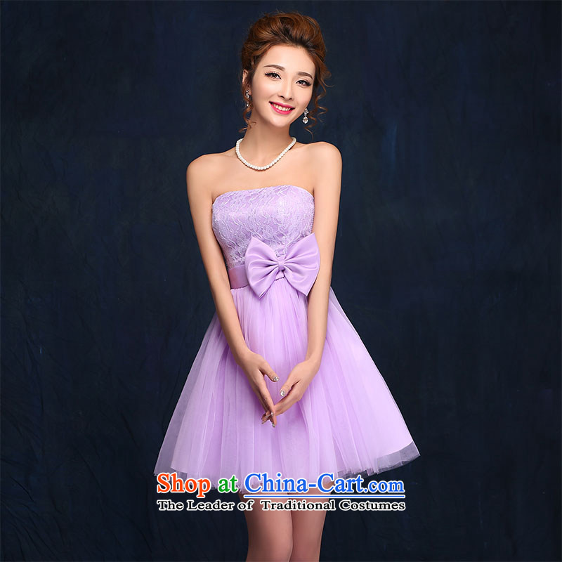 2015 new bridesmaid service_ bridesmaid skirt small dress bows service bridal dresses marriage evening dresses spring and summer purple?S