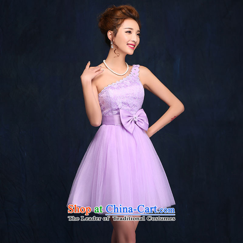 Bridesmaid Services 2015 new spring and summer sister mission dress dresses female short of marriages bows services evening dress purple聽S