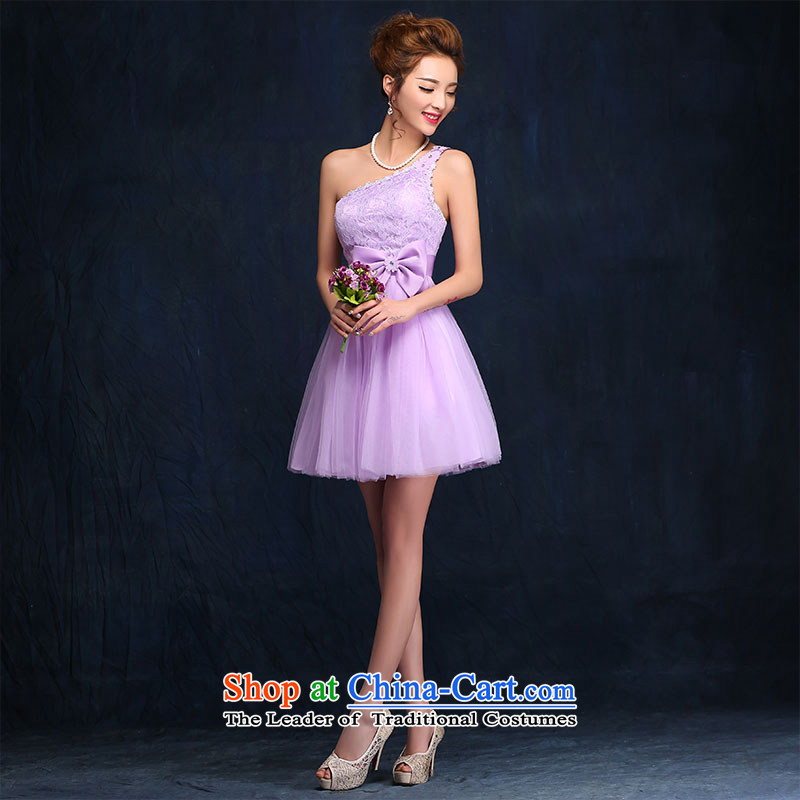 Bridesmaid Services 2015 new spring and summer sister mission dress dresses female short of marriages bows services evening dresses聽according to Lin Sha, purple shopping on the Internet has been pressed.