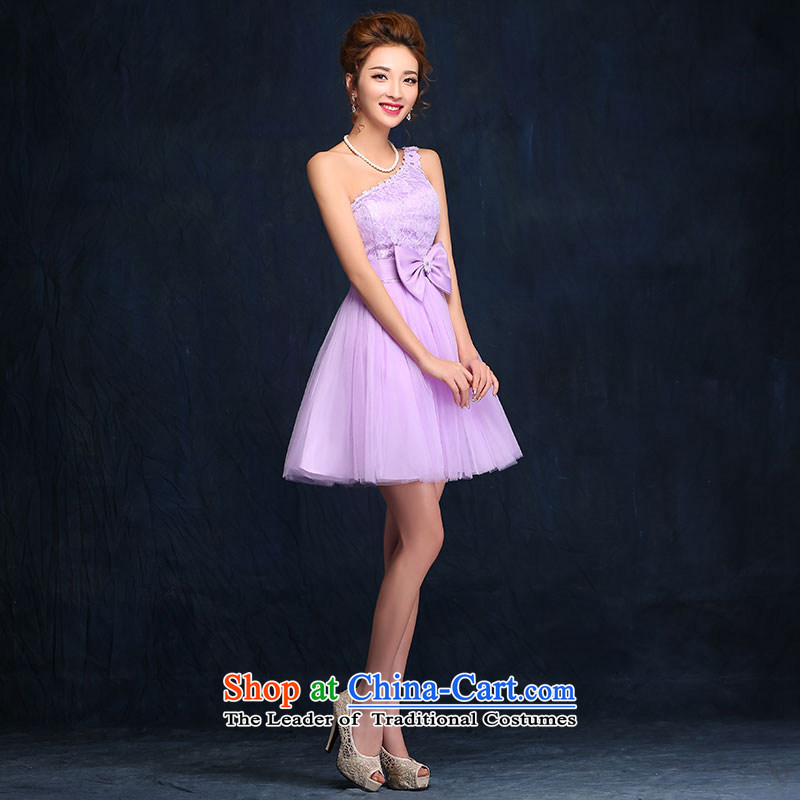 Bridesmaid Services 2015 new spring and summer sister mission dress dresses female short of marriages bows services evening dressesaccording to Lin Sha, purple shopping on the Internet has been pressed.