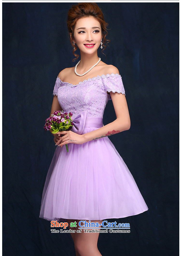 2015 new bridesmaid dress a field shoulder lace white short skirt bon bon skirt straps small dress sister skirt purple L picture, prices, brand platters! The elections are supplied in the national character of distribution, so action, buy now enjoy more preferential! As soon as possible.