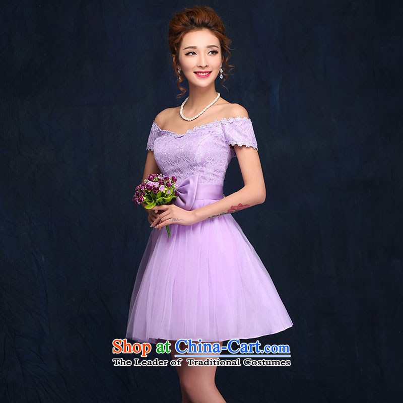 2015 new bridesmaid dress a field shoulder lace white short skirt bon bon skirt straps small dress sister skirt purple?L