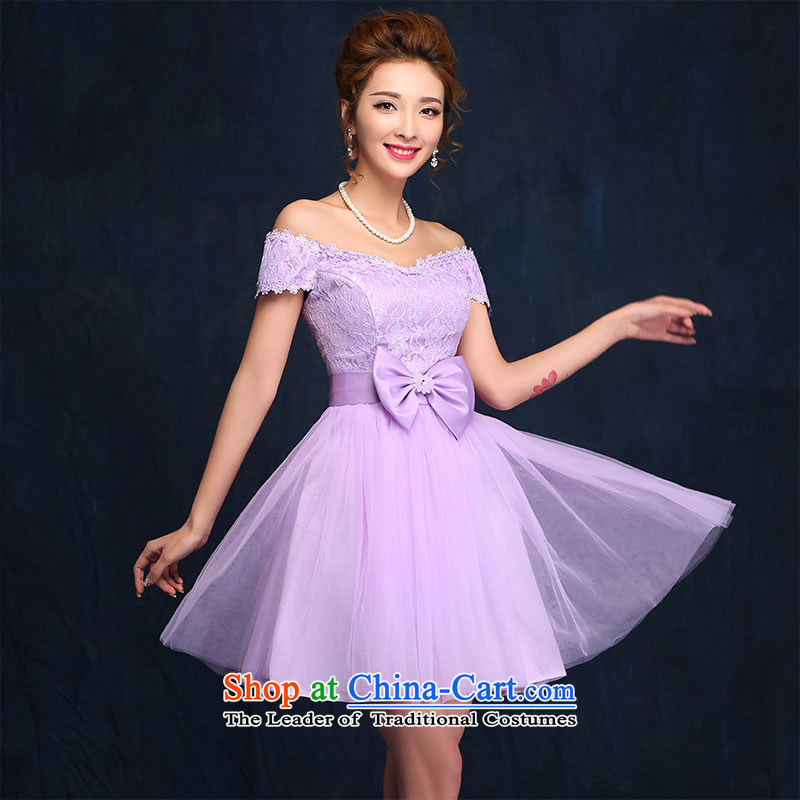 2015 new bridesmaid dress a field shoulder lace white short skirt bon bon skirt straps small dress sister skirt purple , L, according to Lin Sha , , , shopping on the Internet