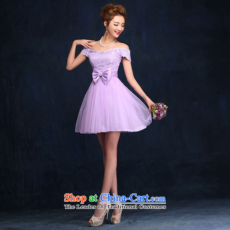 2015 new bridesmaid dress a field shoulder lace white short skirt bon bon skirt straps small dress sister skirt purple聽, L, according to Lin Sha , , , shopping on the Internet