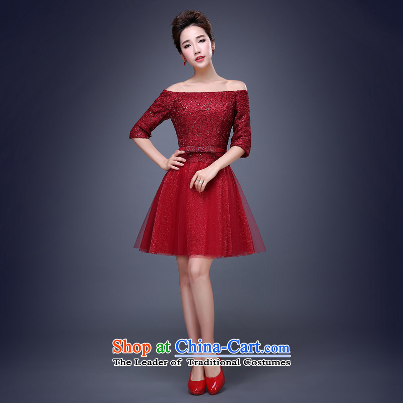 Jie Mija?2015 Spring New lace wedding dresses, small short skirt evening dress performances bride services bridesmaid dresses bows deep red?XL