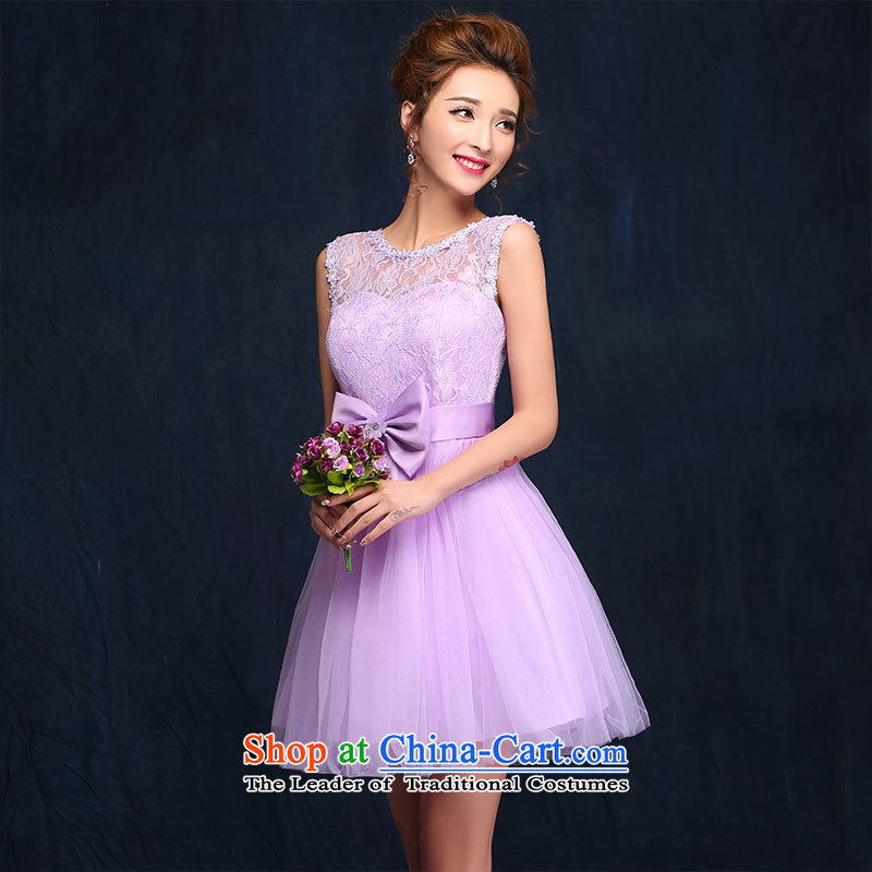 The new 2015 evening dress bridesmaid Dress Short of Korean skirt wedding banquet sister small dress spring and summer Sau San purple?L