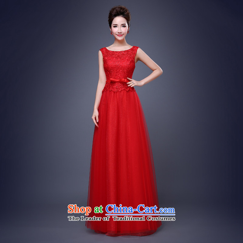 Jie Mija?2015 new dresses bows services services dress bridesmaid bridesmaid mission spring and summer long short of marriage red red?L