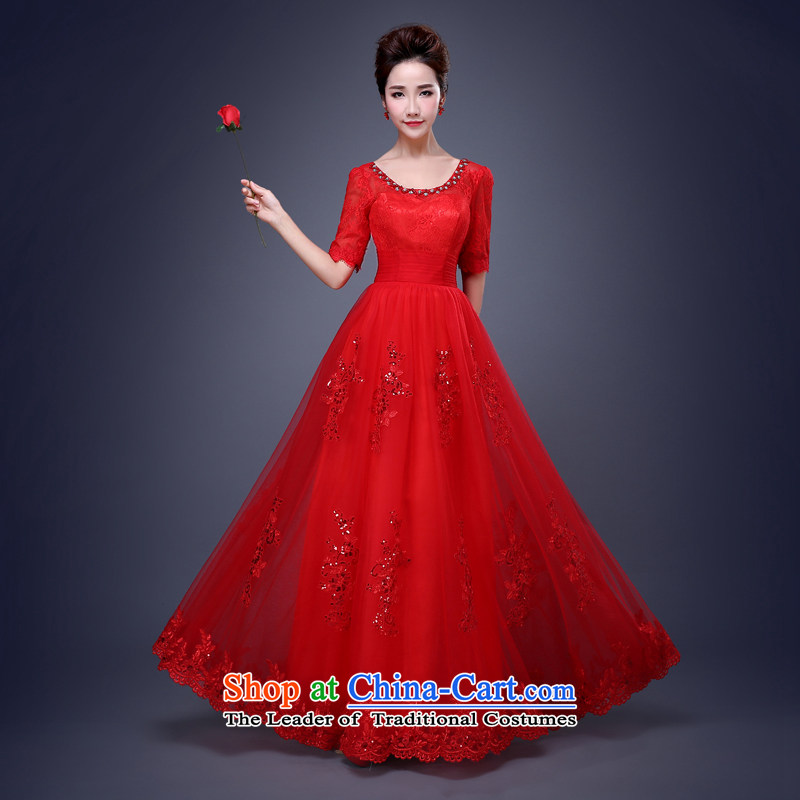 Jie Mija?2015 new dresses bows services services dress bridesmaid bridesmaid mission spring and summer long red marriage long sister red?S