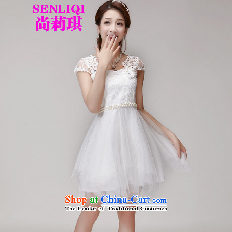 Yet Liqi?2015 Summer hook wire manually set drill blossoms gemstone aristocratic princess elastic waist dresses dress women 1015 White?L