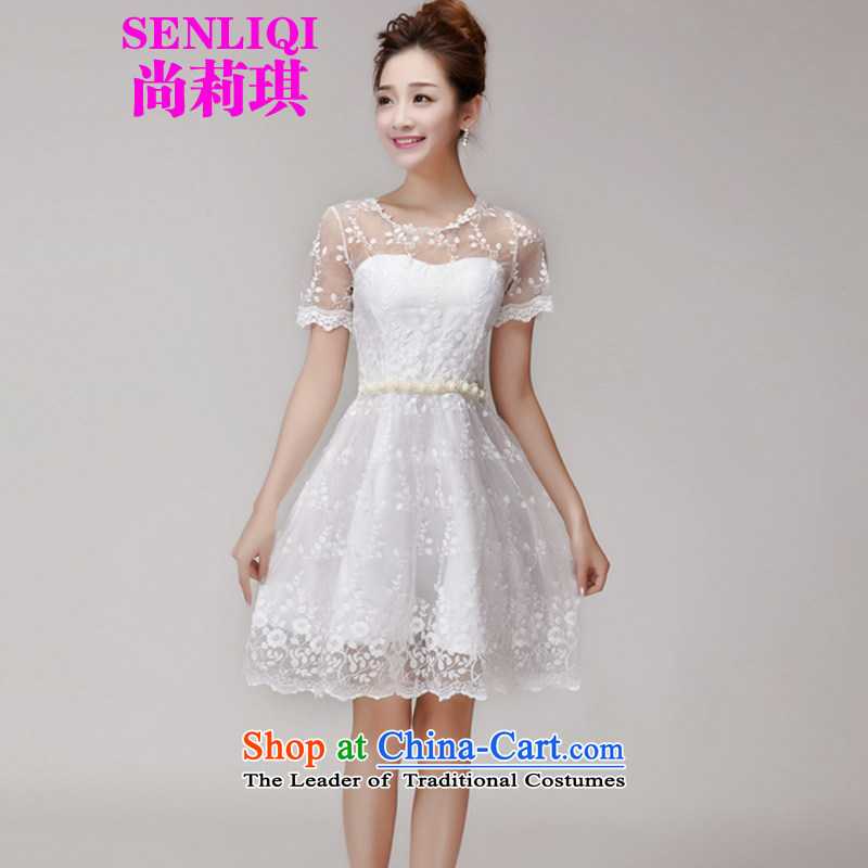 Yet Liqi?2015 Summer new heavy industry lace hook flower engraving gauze manually staple Pearl Princess dresses dress skirt women 1000 White?M