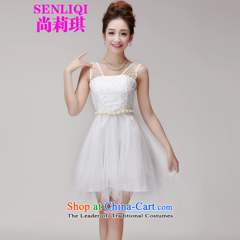 Yet Liqi?2015 Summer new lace spent manually staple pearl hook princess bon bon skirt elastic waist nets dresses dress women 983 White?M