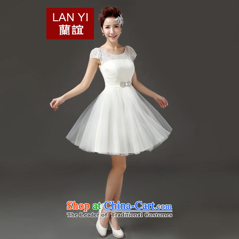 In the?spring and summer of 2015, Friends New marriages toasting champagne evening dresses Korean word shoulder Sau San performance under the auspices of small Dress Short white dresses bridesmaid?L code waist 2.1 foot