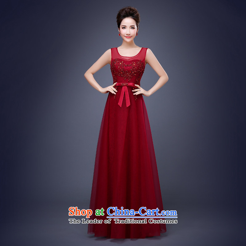Jie Mija 2015 new stylish long Merlot red deep bows services V bride moderator will dress Sau San banquet dark red?L