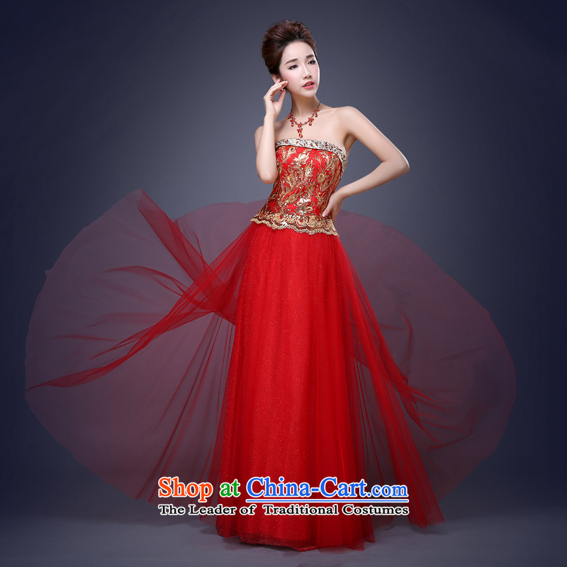 Jie Mija?2015 new stylish length_ red embroidered bride bows to the moderator will dress Sau San banquet long?XL