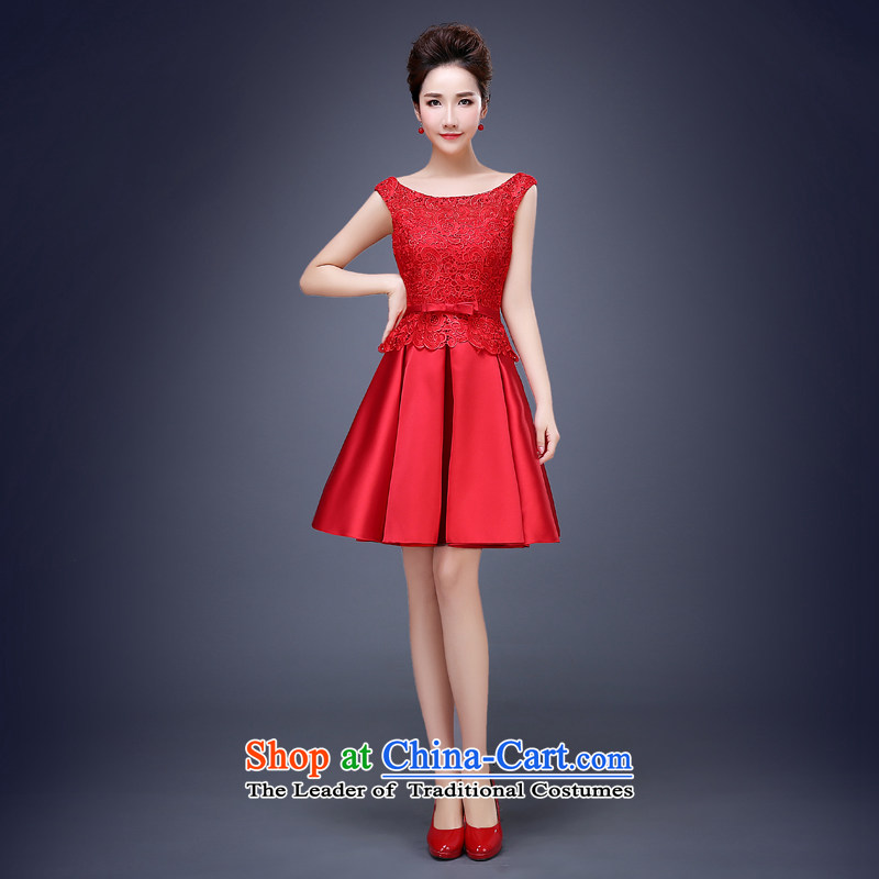Jie mija wedding dresses Bridal Services dress bows new 2015 Spring/Summer stylish wedding short of marriage red red?XXL