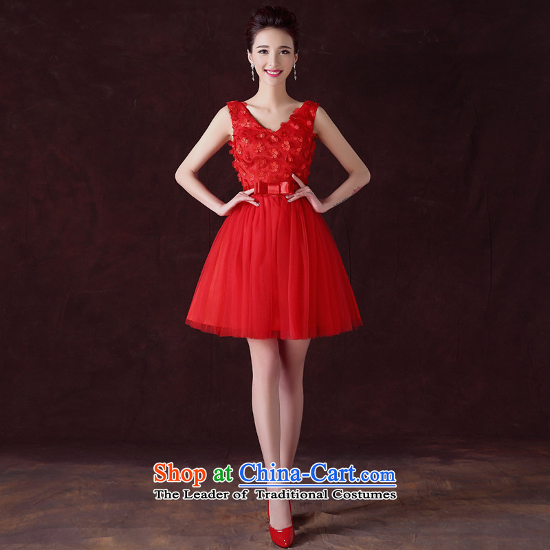 The privilege of serving the bride-leung bows to the summer and fall of replacing the small red dress marriage Chinese Dress stylish evening dress short, Red?L