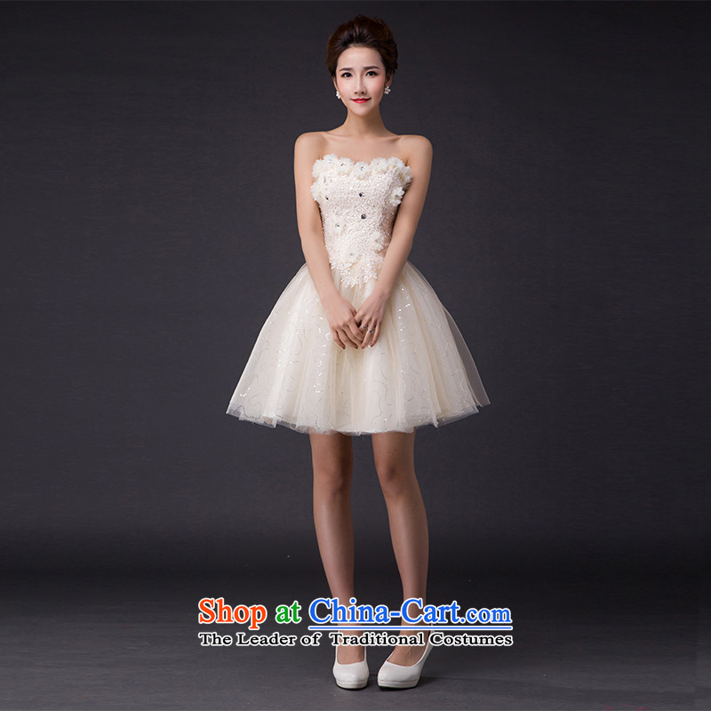 Hei Kaki?2015 new bows dress Korean dress wiping the chest was chaired by annual concert dress skirt? P008?champagne color?S