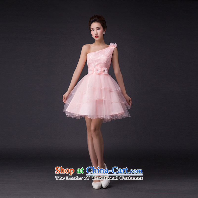 Hei Kaki?2015 new bows dress Korean Beveled Shoulder shoulders and chest evening dress was chaired by annual concert dress? P010 skirt?and pink Beveled Shoulder?S