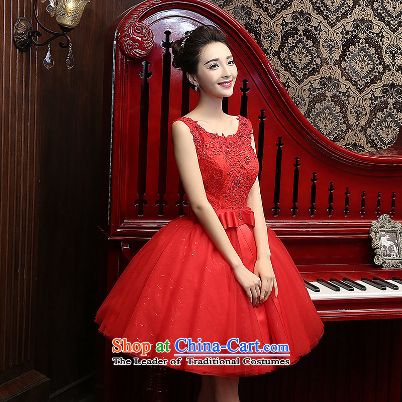 Su Xiang Edge?2015 new red lace short, thin graphics marriages bows services bon bon small dress evening dress wedding dress red?S