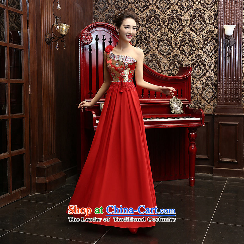The new 2015 Long Red single shoulder graphics thin bows dress marriages wedding dresses betrothal evening dresses red L