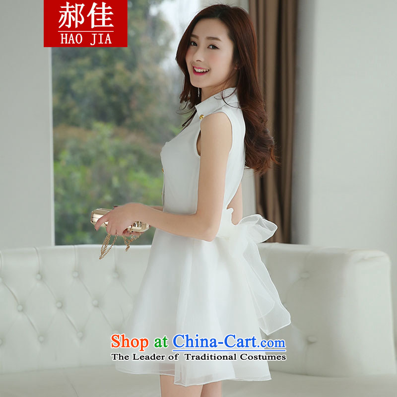 Hao Kai sweet dresses 2015 Spring/Summer female OL temperament white fairies dresses bow tie dress skirt white?L