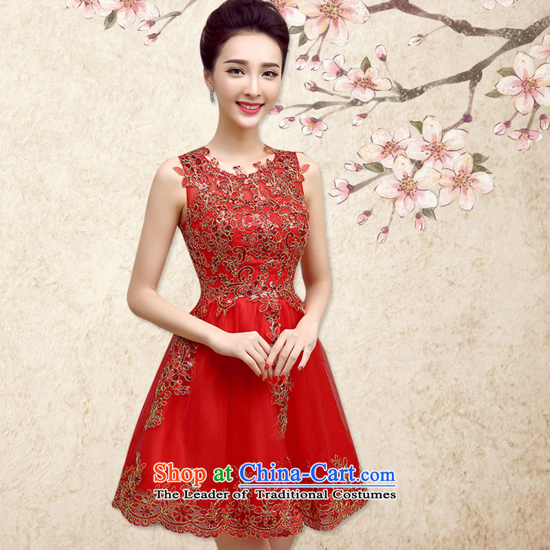 In accordance with the Netherlands varies with the bows services new 2015 word dress shoulder lace bows serving spring red bride dress video thin marriage evening dresses summer red sleeveless聽m