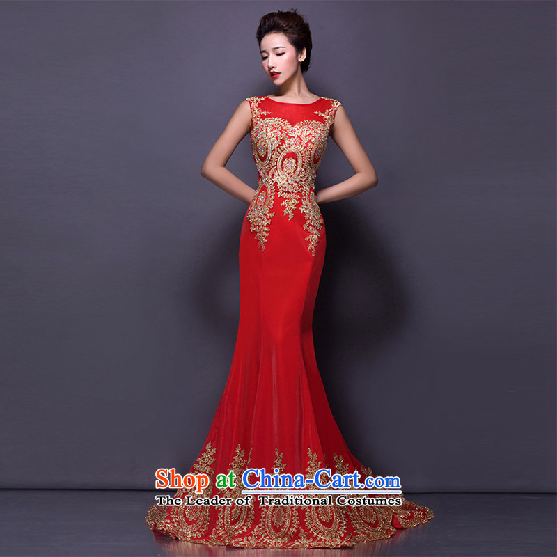 Hei Kaki?2015 new bows dress Korean crowsfoot shoulders evening dresses annual round-neck collar banquet hosted performances dress skirt?chinese red P001?S
