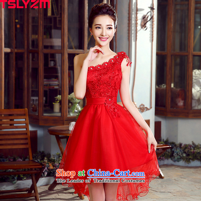 Toasting champagne bride services tslyzm betrothal wedding dress shoulder front stub long after flowers lace hook spent 2015 dulls the new evening dresses Red Red M