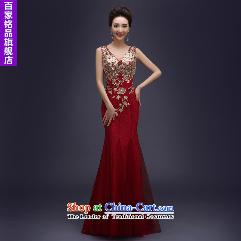 Wedding dress uniform evening drink in the�autumn 2015 new marriages bows service long lace shoulders bridesmaid skirt banquet evening dresses�XXXL wine red