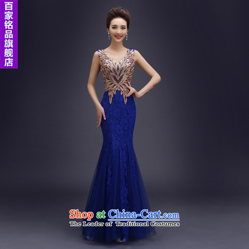 Wedding dress evening drink service?2015 new brides fall crowsfoot long lace bridesmaid to Sau San services upscale banqueting evening dresses female blue?S