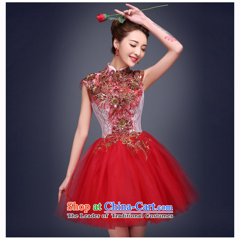 Shared Keun evening dresses 2015 new bride stylish short of the small dining evening dresses Sau San married women dress uniform bows red�L code from Suzhou Shipment