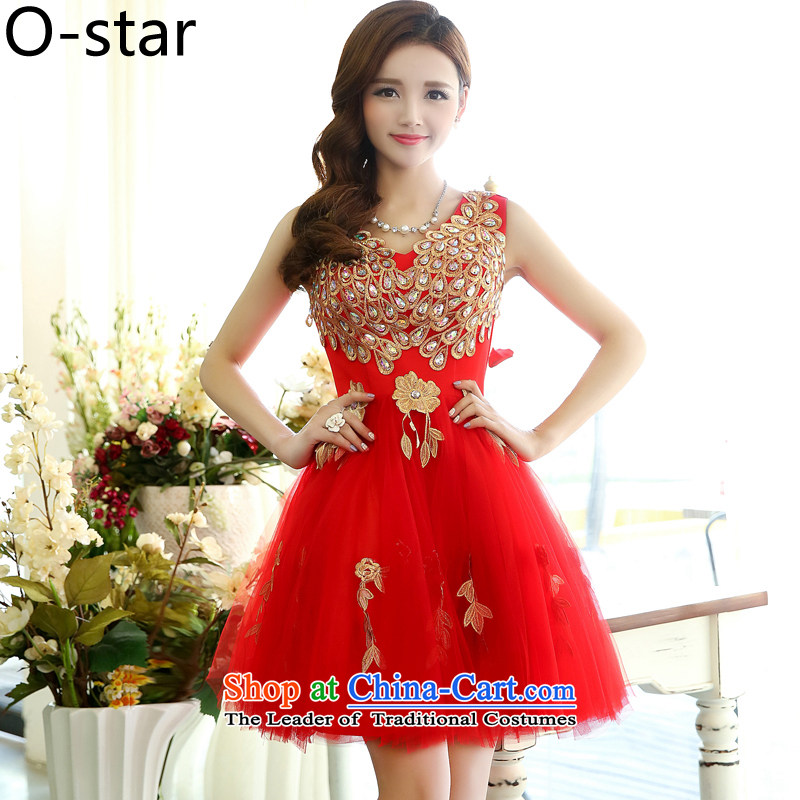 2015 Summer Korea o-star version long stylish sleeveless V-Neck Peacock bon bon skirt evening dress skirt wedding dress bows to large red�L