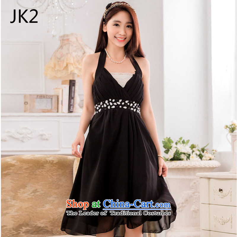 Jk2�sexy V-neck a bright pearl of staple manually drill chiffon evening dress small dress dresses JK2 869.2 black are code
