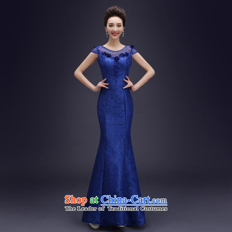 Wedding dress uniform evening drink in the?autumn 2015 new stylish evening dresses long crowsfoot Sau San slotted shoulder wedding dresses blue?L