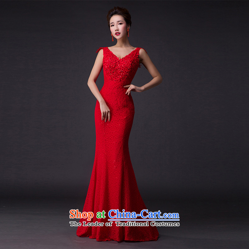 Hei Kaki�2015 new bows dress Korean crowsfoot shoulders evening dresses�V-neck under the auspices of the annual concert dress skirt� P006 banquet�chinese red�XXL