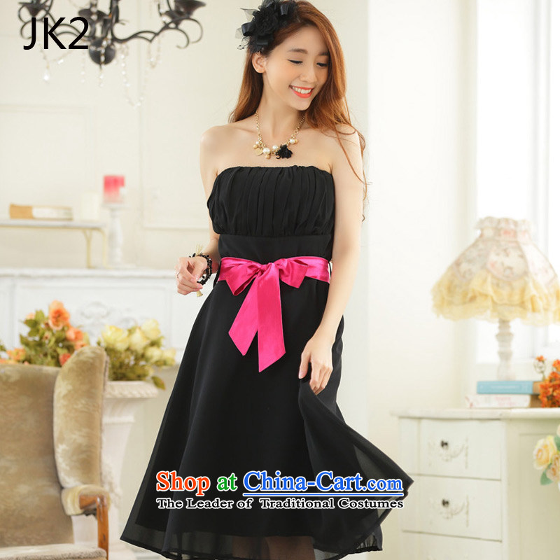 The minimalist style with large collision color chest belt chiffon dinner show dress dresses JK2 9,930�XXXL black
