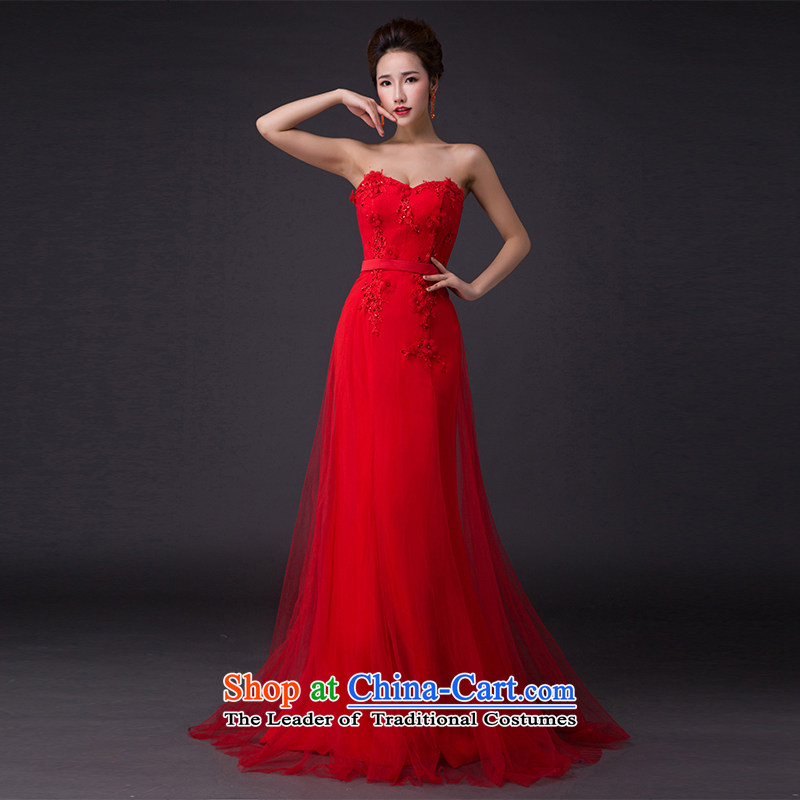 Hei Kaki?2015 New banquet dress shoulders evening dresses Love Mary Magdalene was chaired by annual concert chest dress skirt? P007?RED?S