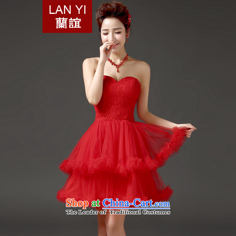2015 new marriages bows and chest Korean clothing red princess bon bon skirt short of small events including dress evening dresses red made contact customer service fee as the Supplement