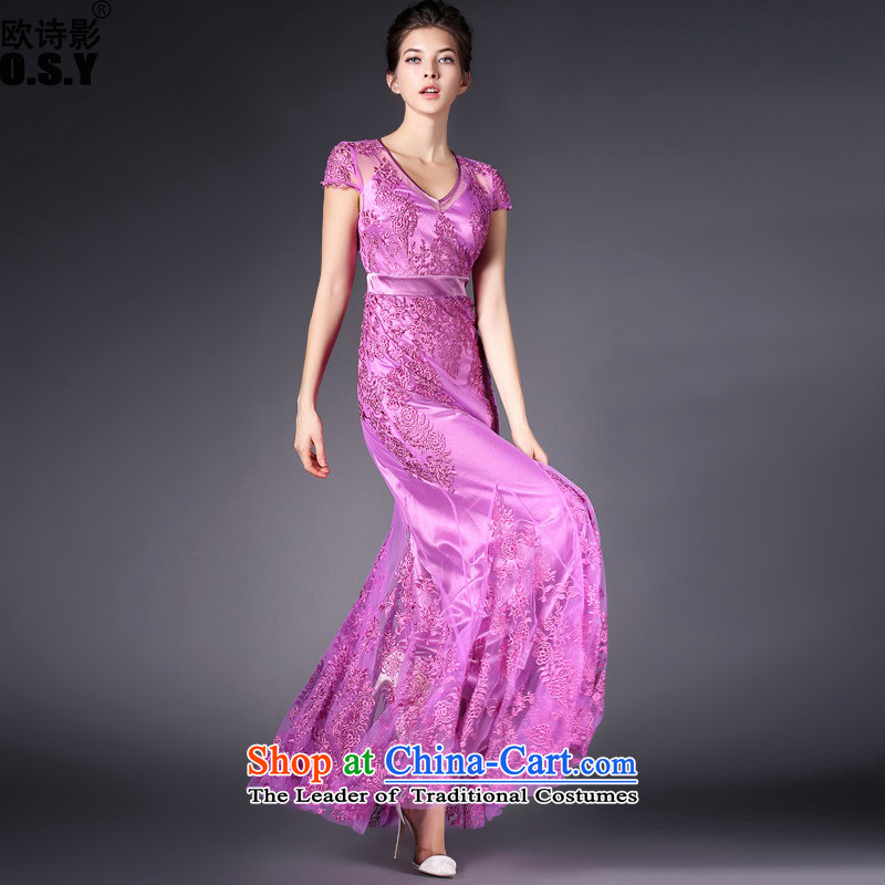The OSCE Poetry Film 2015 new European and American Women's retro shoulder heavy industry embroidery package Sau San crowsfoot dresses wedding dress female purple annual?S