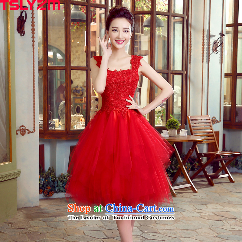 Wedding dresses tslyzm bride bows shoulder strap with small Dress Short of marriage gauze bon bon skirt red 2015 autumn and winter will female red S