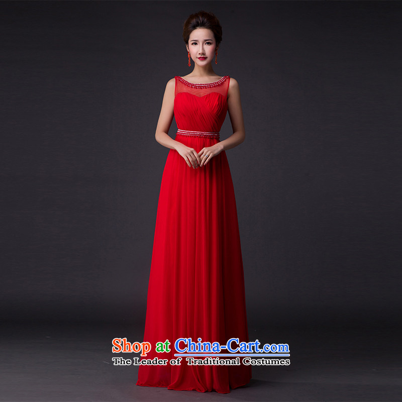 Hei Kaki�2015 new bows dress on drill pearl shoulders evening dresses�V-neck under the auspices of the annual concert dress skirt� P005 banquet�red�L