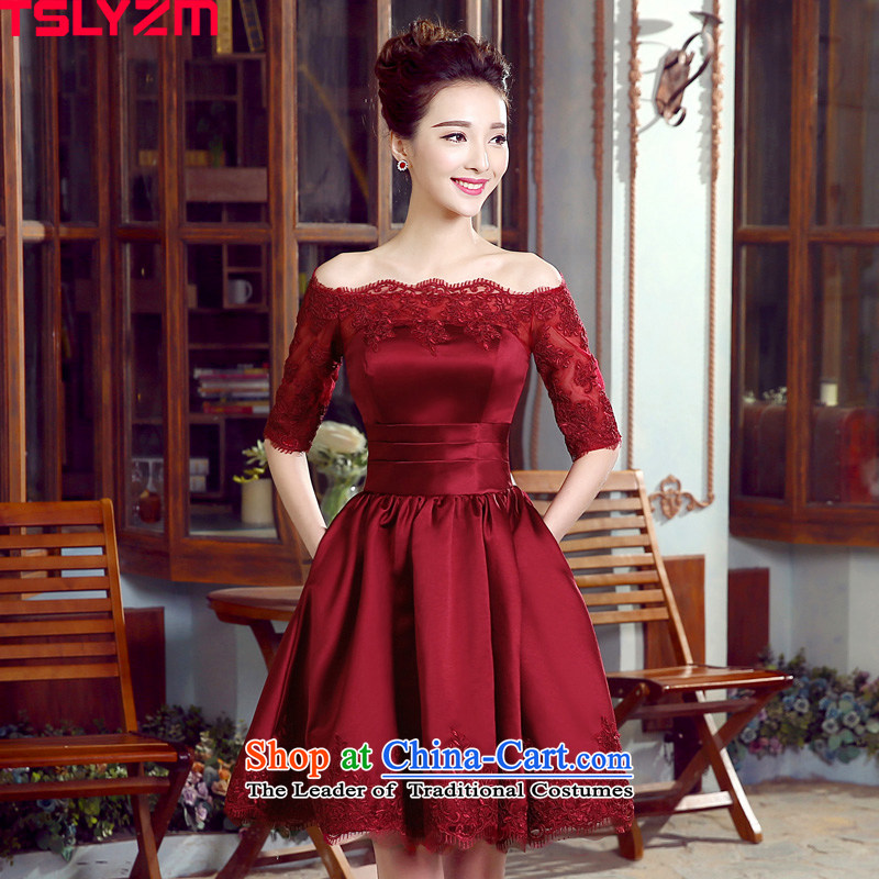 A bride evening dress tslyzm field shoulder wedding dress bows service, Sau San banquet meeting of persons chairing the dress dresses female satin back to door service new wine red�XXL