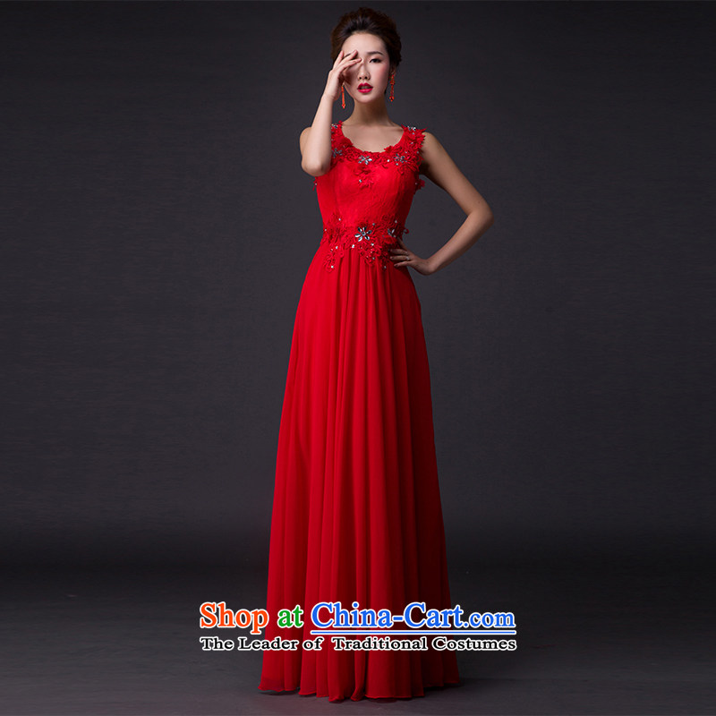 Hei Kaki�2015 new red dress on drill-toasting champagne evening dress annual meeting presided over the shoulder banquet performances dress skirt� P003�RED�XXL