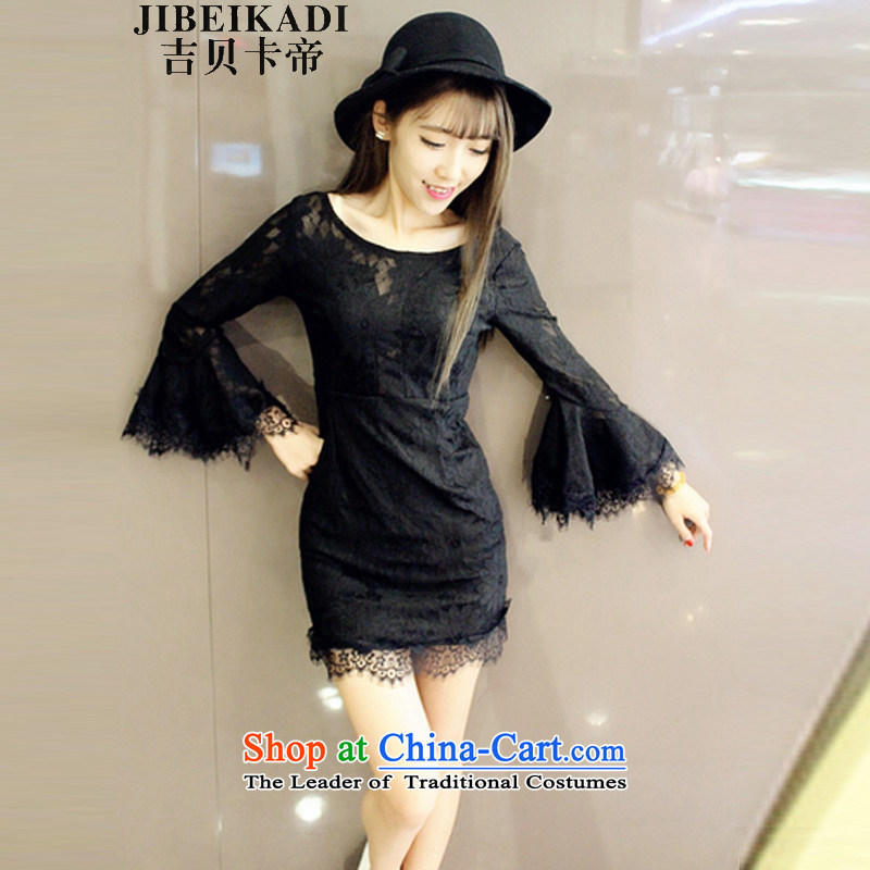The new night 5381# dress large l sleeves fairies big terrace back dresses black�S