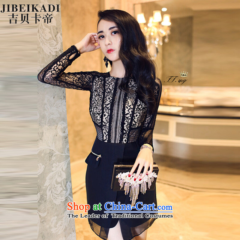 Gibez Dili three floor 2014 card europe lace dresses long-sleeved engraving black?M