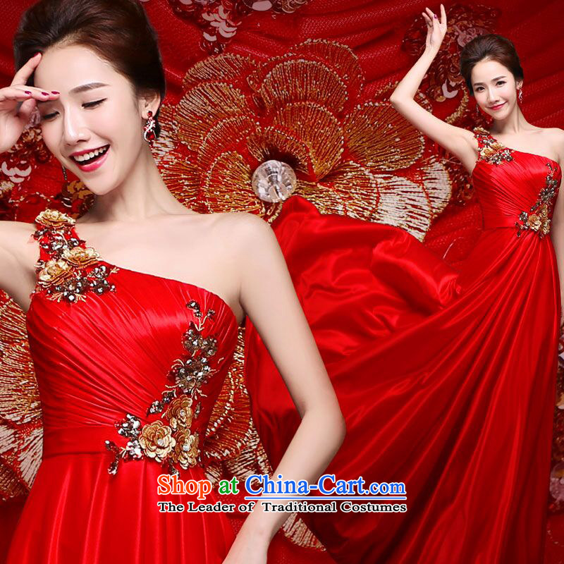 Shared spring and summer guijin2015 Keun-young new bride red marriage services shoulder stylish bows of Sau San wedding dress evening dress聽code from Suzhou purple L Shipment