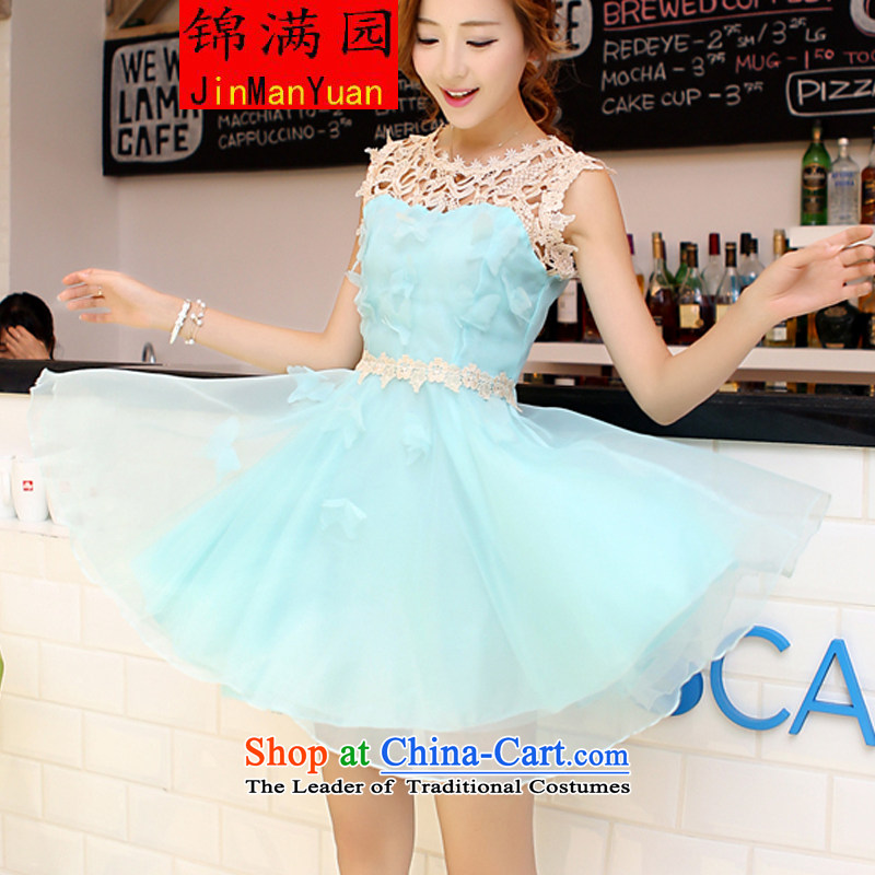 Hu Garden 2015 new Korean lace the yarn dresses bon bon skirt princess skirt sleeveless bridesmaid small dress dress lake blue L