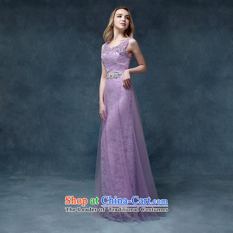 According to Lin Sha?2015 new marriages bows service long shoulders lace purple bridesmaid dress evening dress photo color?L
